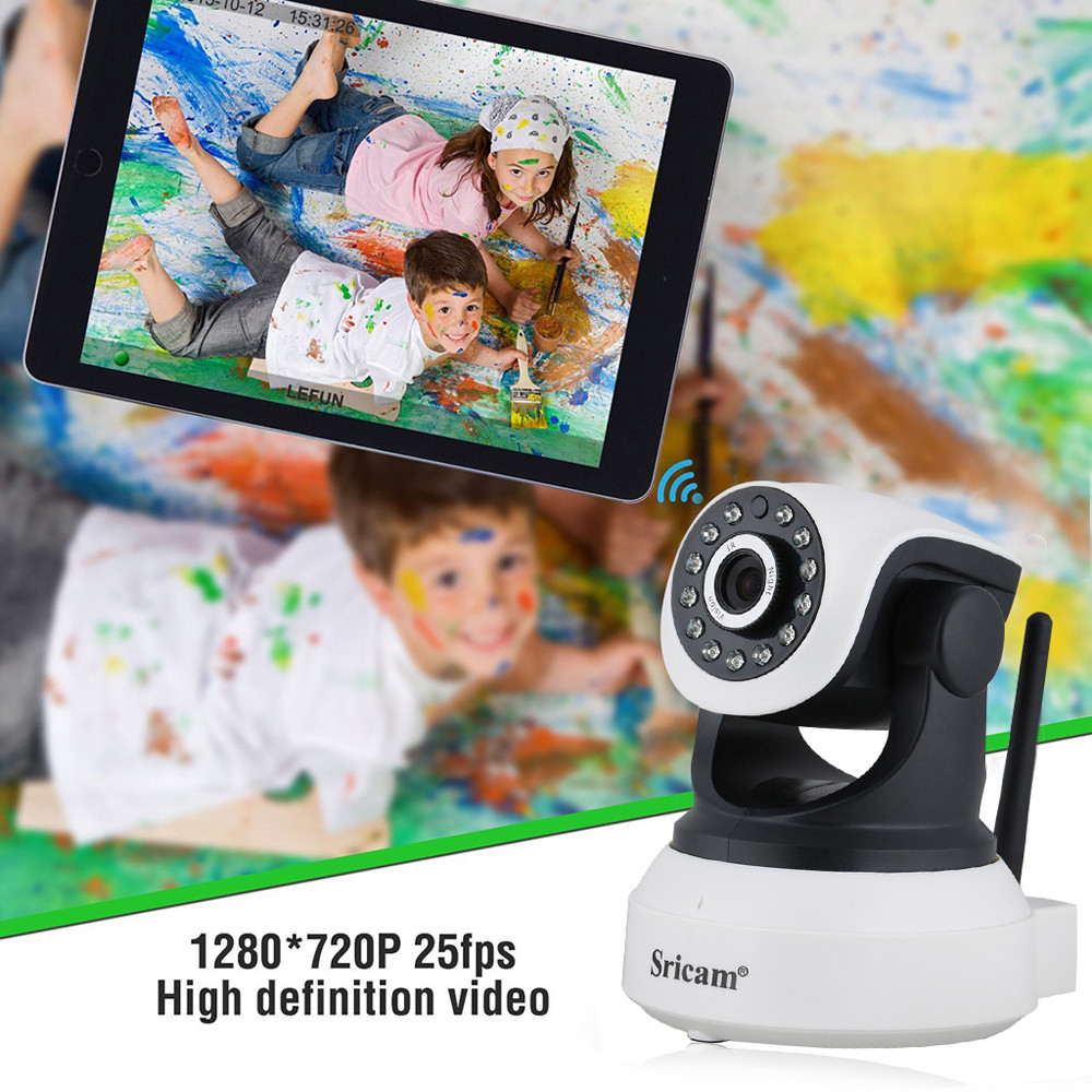 Sricam SP017 720P WiFi Megapixel H.264 Wireless PT ONVIF CCTV Security IP Camera EU Plug