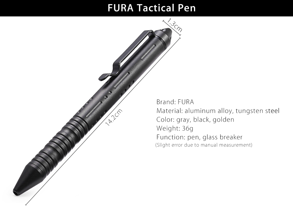 FURA Aviation Aluminum-alloy Tactical Pen with Tungsten Steel Tip for Outdoor Survival
