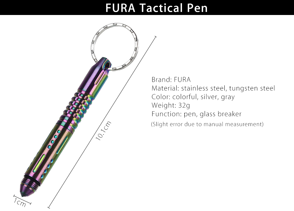 FURA Stainless Steel Tactical Pen with Tungsten Steel Tip / Key Ring