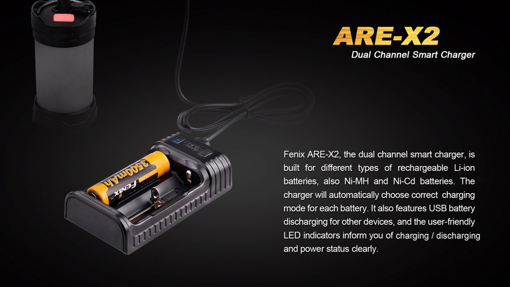 Fenix ARE - X2 2 Slots USB Battery Charger Smart Protection Circuit