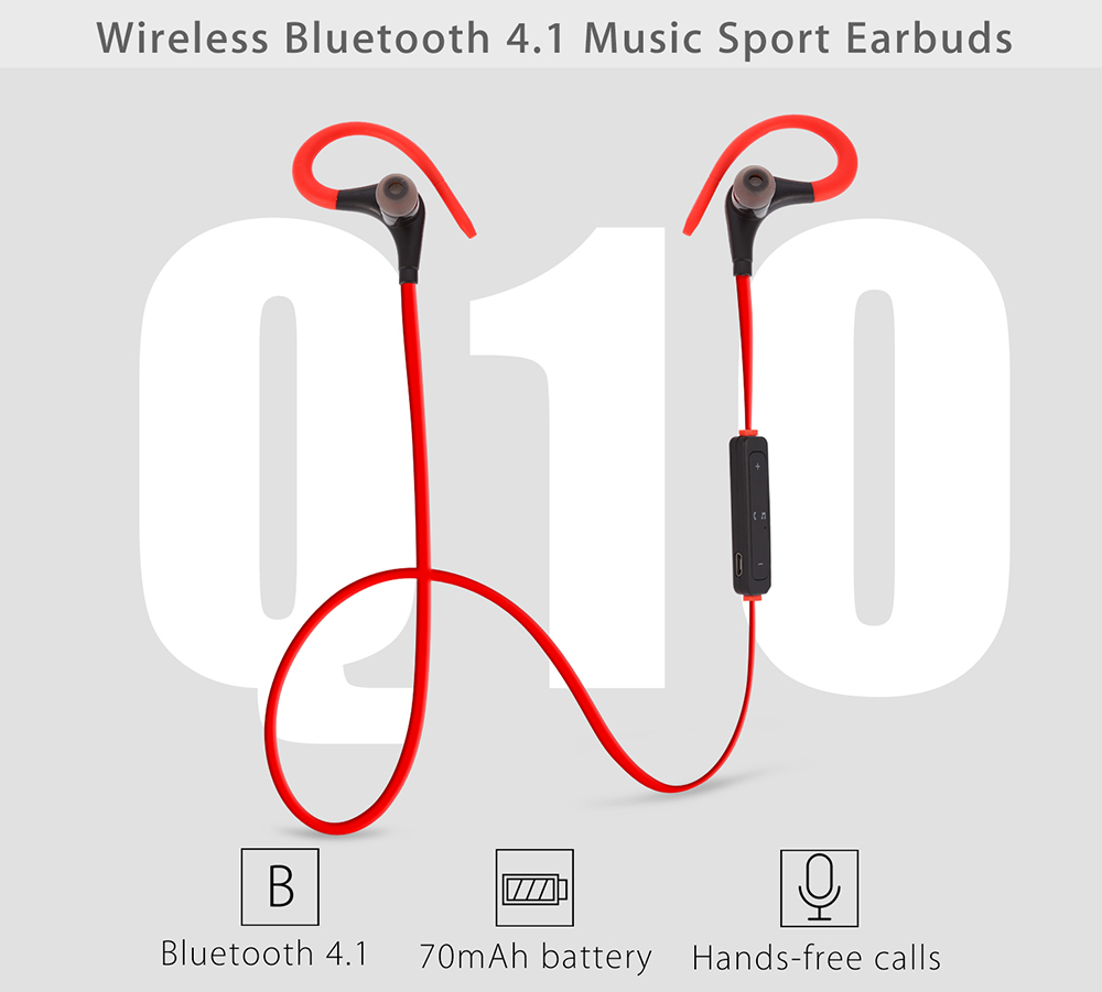 Q10 Wireless Bluetooth 4.1 Music In-ear Sport Earbuds with Mic Support Hands-free Calls Multi-connection