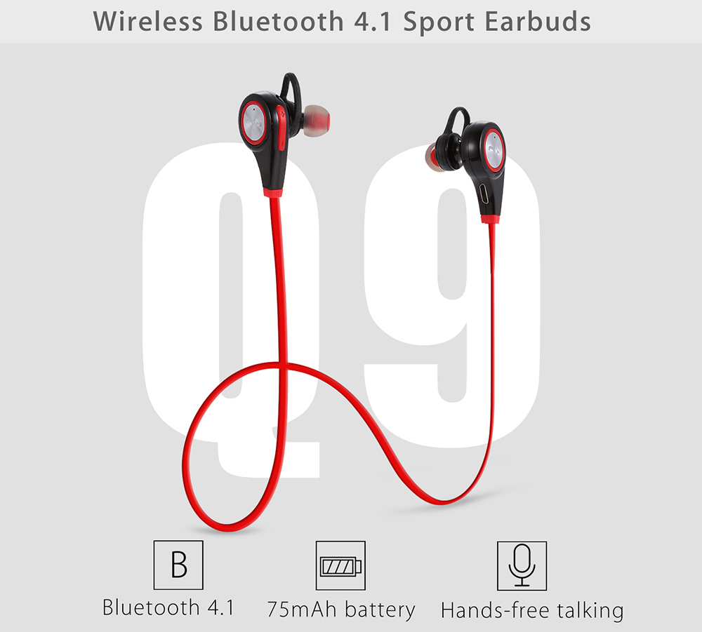 Q9 Wireless Bluetooth 4.1 Music Sport Earbuds with Mic Support Hands-free Calls