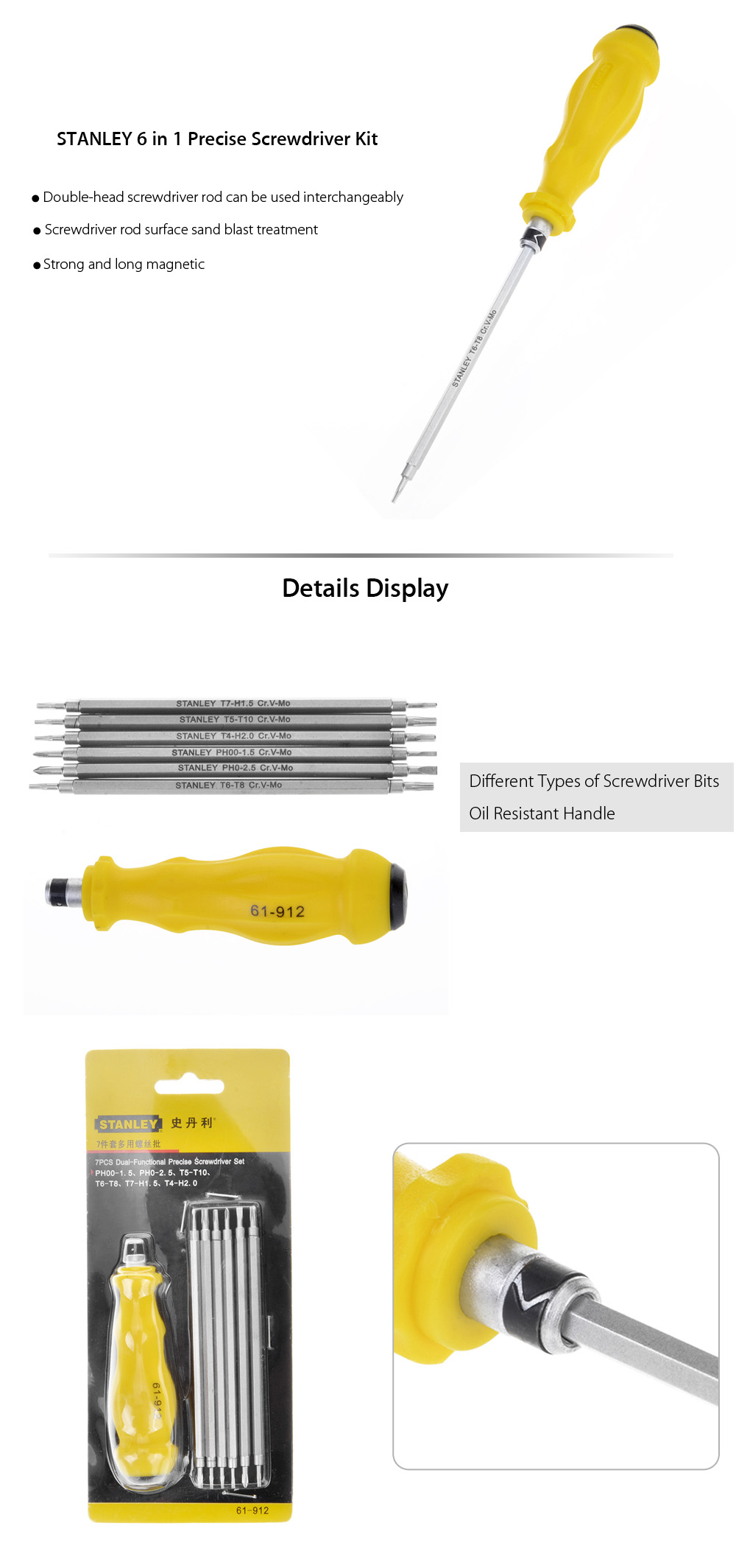 STANLEY 7 in 1 Stainless Steel Screwdriver Set Driver Kit Maintenance Tool
