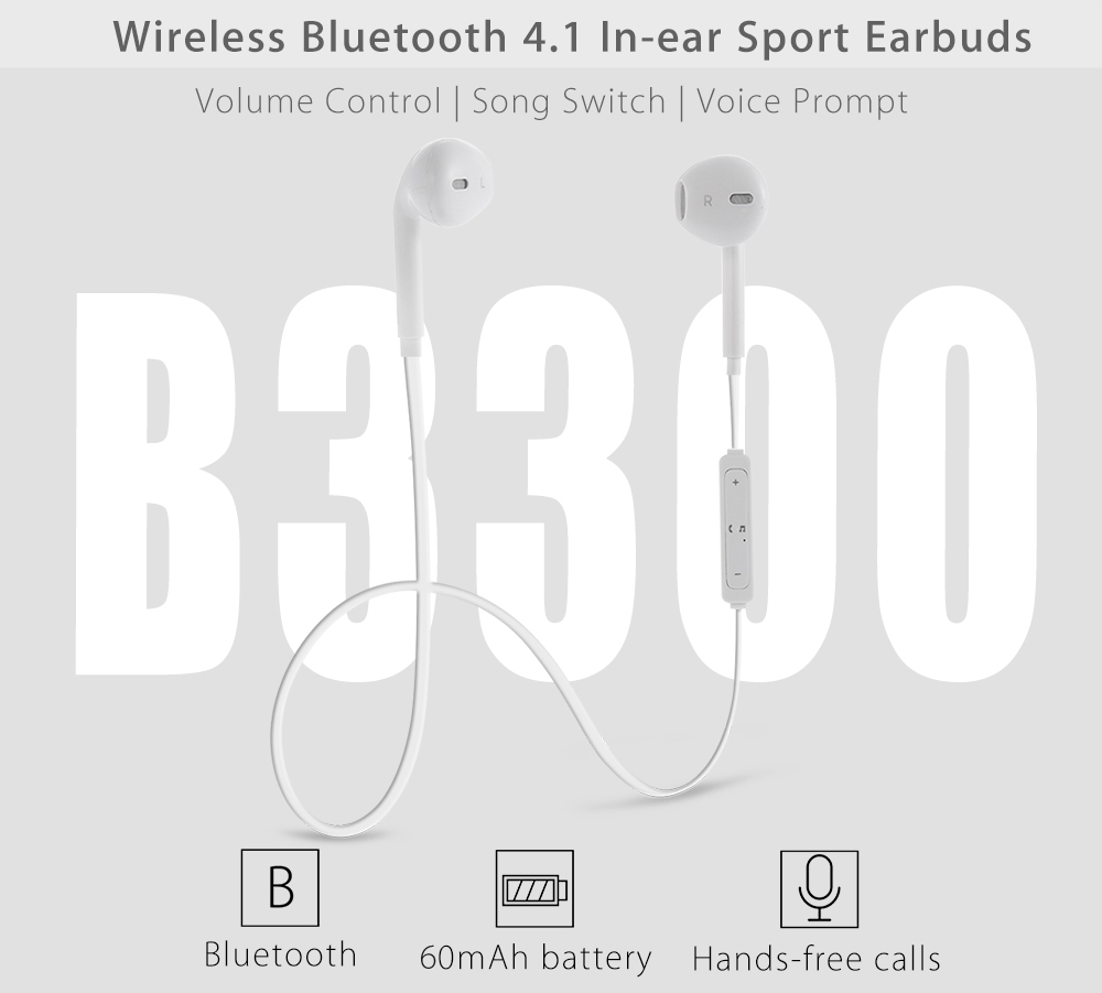 B3300 Wireless Bluetooth 4.1 Sport Earbudes with Mic Volume Control Song Switch Voice Prompt