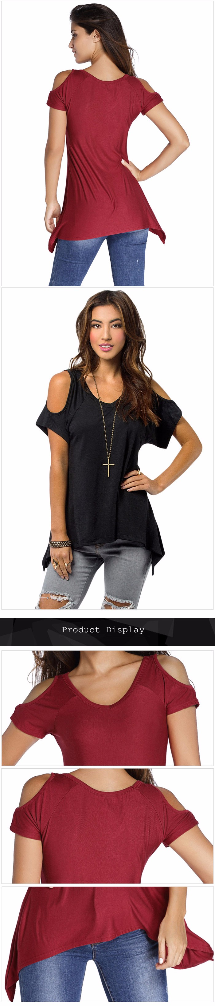 Cold Shoulder T-shirt with Asymmetric Hem for Women