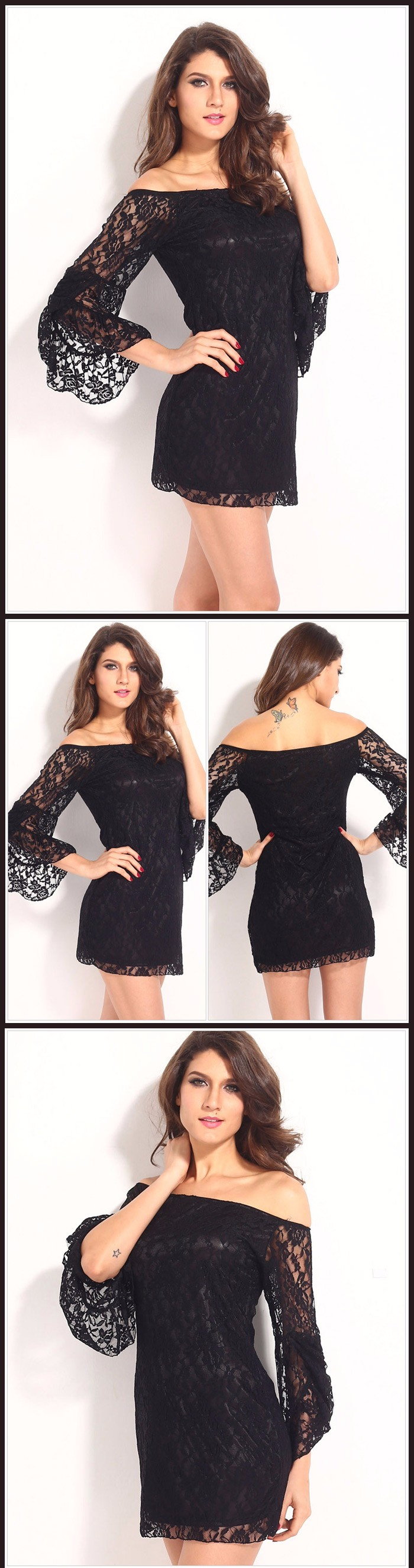 Lace Flare Sleeve Off The Shoulder Dress