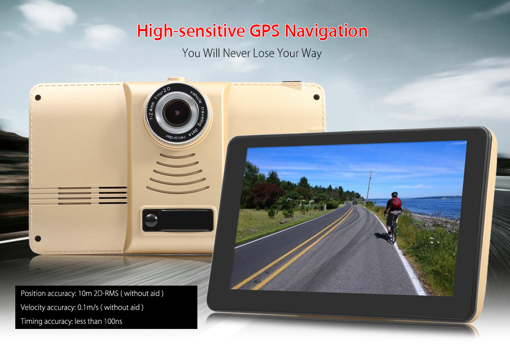 901 7 inch Android 4.4 Car Tablet GPS 170 Degree Wide Angle 1080P DVR Recorder WiFi / FM Transmitter Multi-media Player Support Google Maps / Software