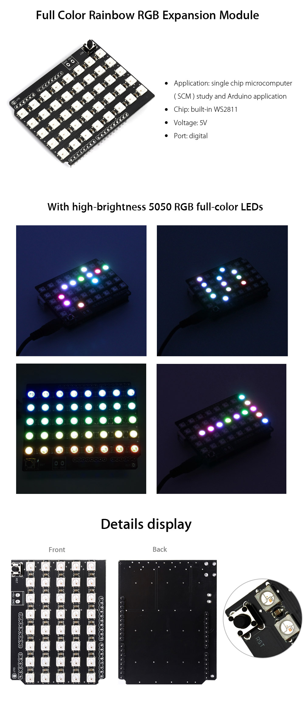 LDTR - ZK0001 Full Color Rainbow RGB Serial 5050 Expansion Board