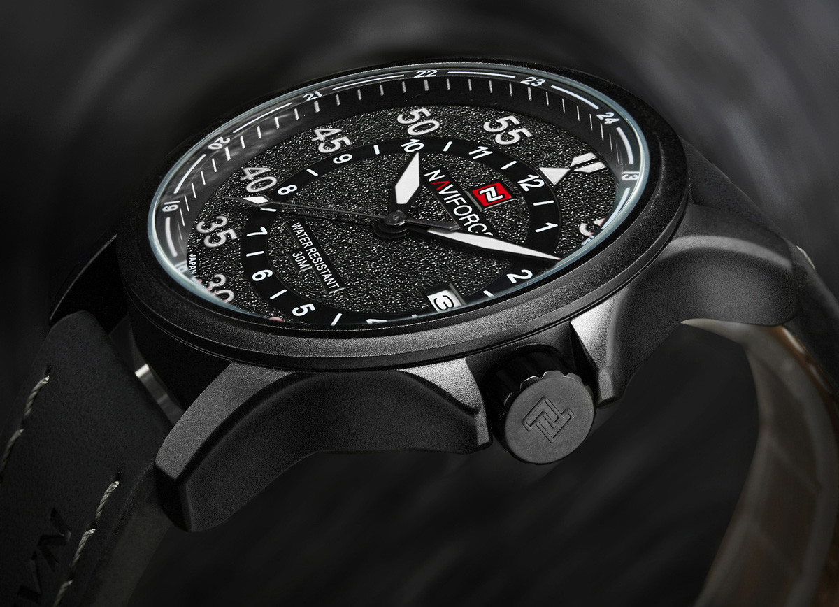 NAVIFORCE NF9076 Casual Frosted Surface Dial Male Quartz Watch with PU Strap