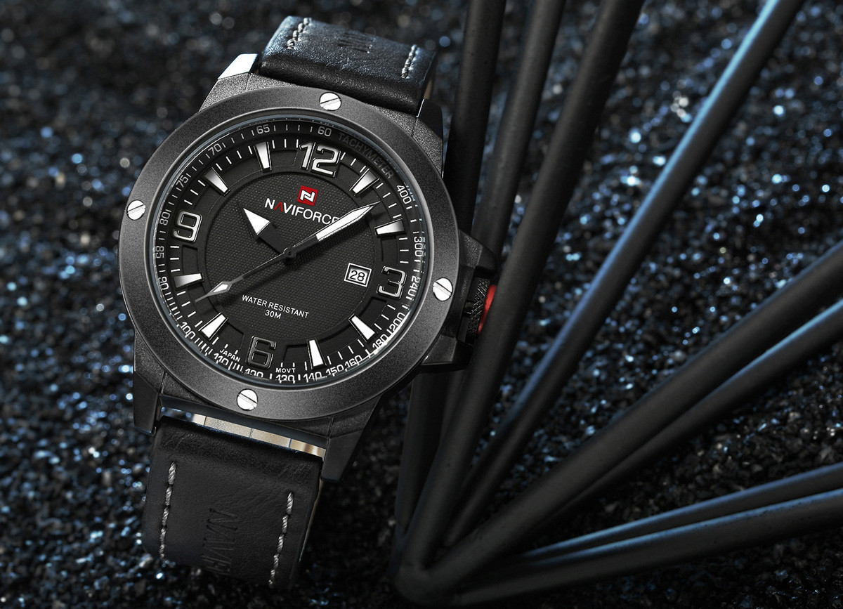 NAVIFORCE NF9077 Casual Stereo Scale PU Strap Male Quartz Watch with 30m Water Resistance