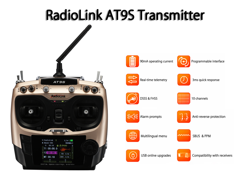 RadioLink AT9S 2.4GHz 10CH Transmitter with R9DS Receiver