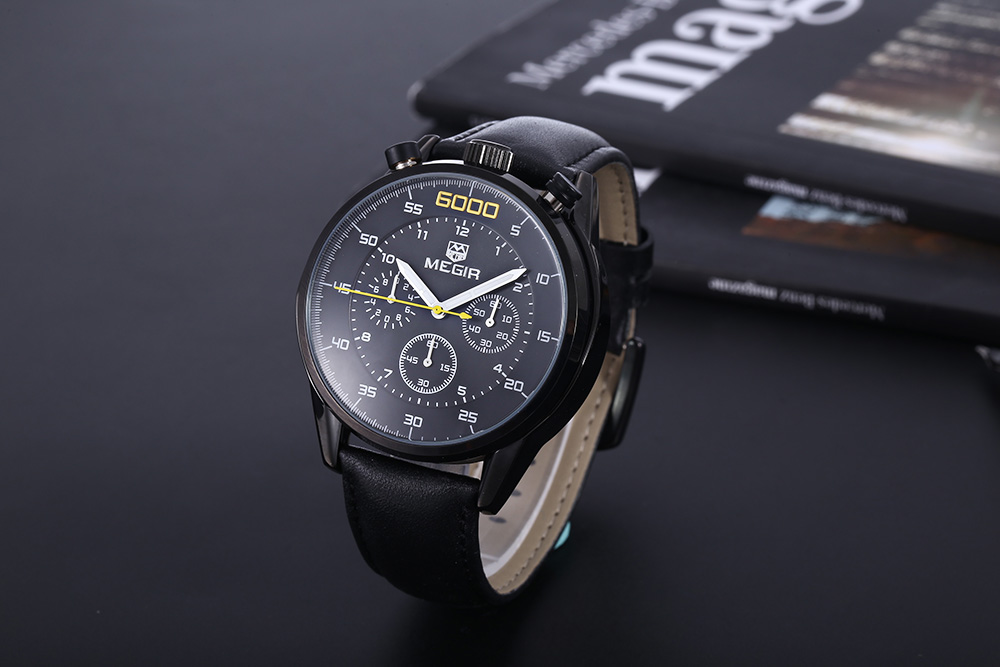 MEGIR 3005G 30M Water Resistant Male Quartz Watch with Stopwatch Leather Band Working Sub-dials