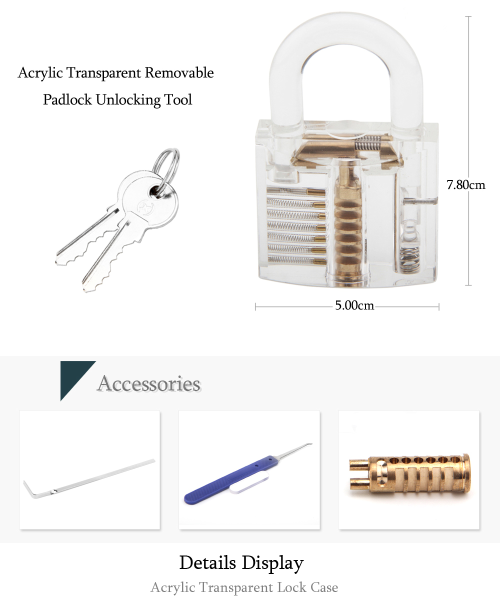 Acrylic Transparent Removable Padlock Practice Unlocking Tool