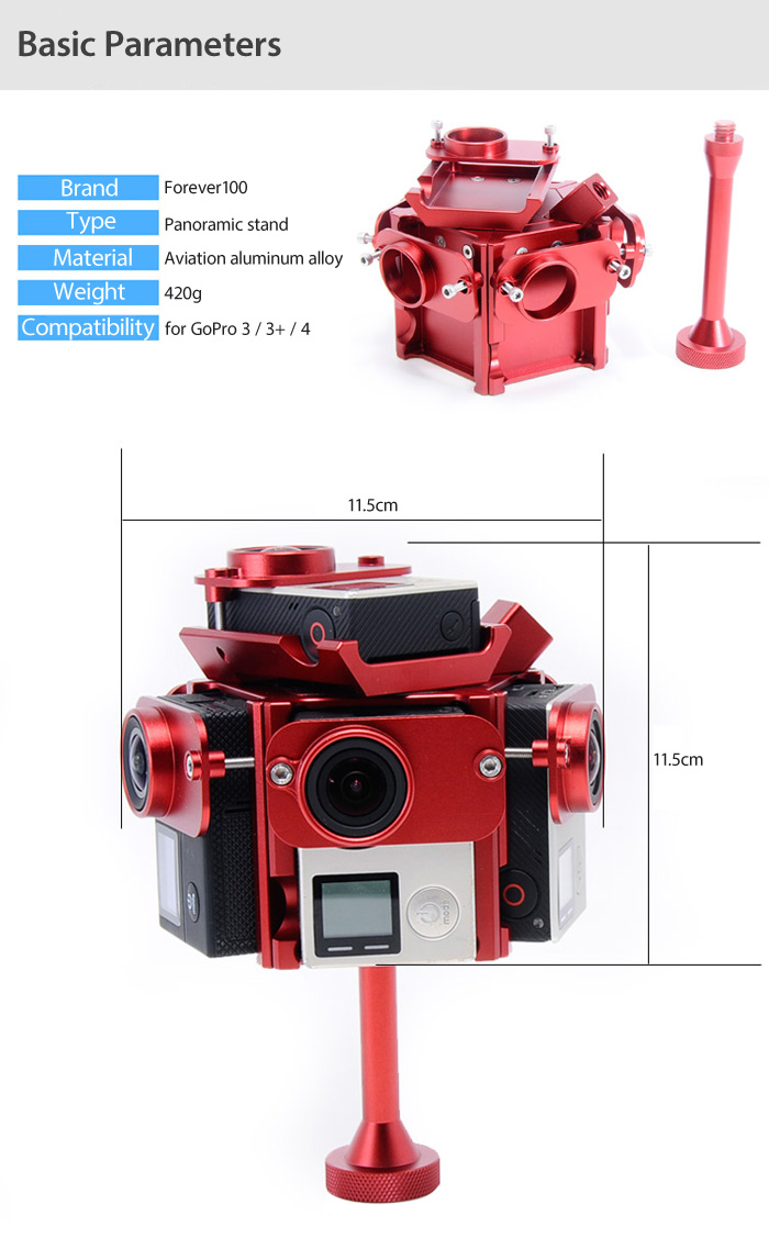 FOREVER100 Panorama Photography Action Camera Stand Six Frame for GoPro Hera 3 / 3+ / 4