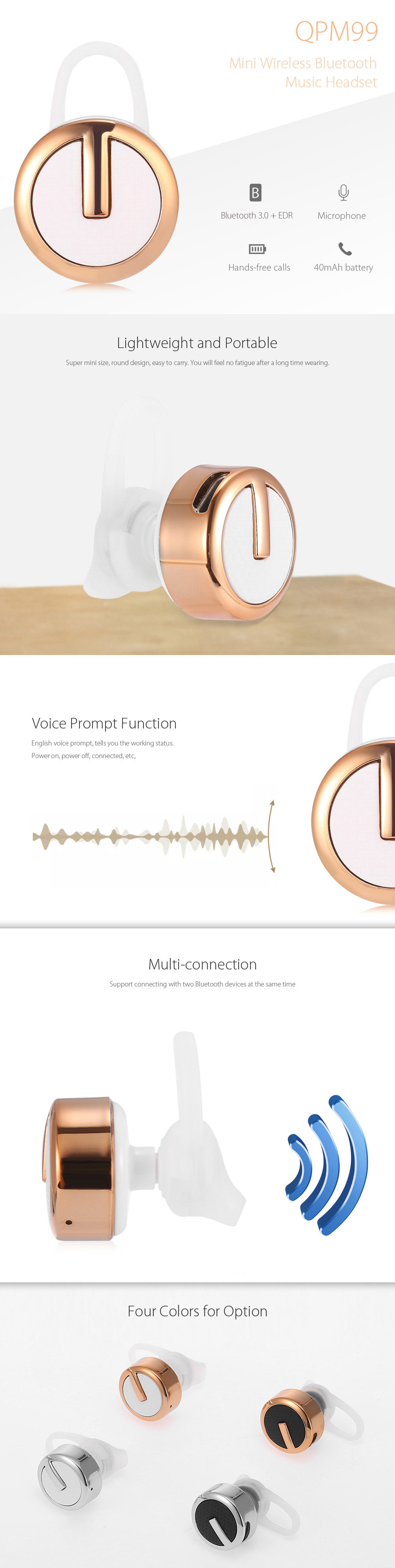QPM99 Wireless Bluetooth Music Headset Hands-free Calls Voice Prompt Battery Status Display