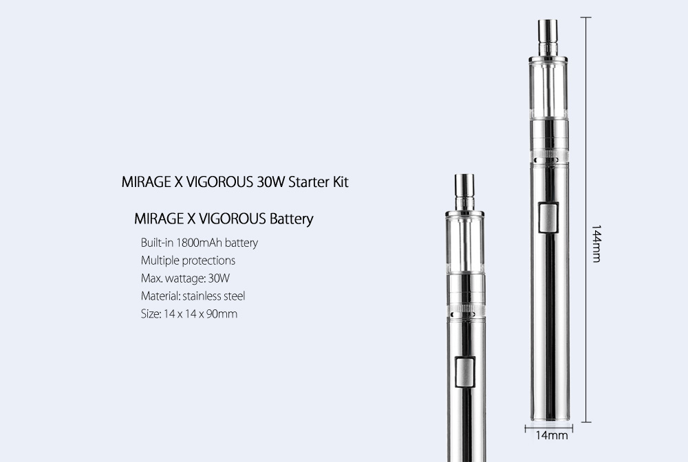 Original MIRAGE X VIGOROUS 30W Starter Kit with Built-in 1800mAh Battery / 30W Maximum / 2ml / 0.2 ohm SS316L Coil / Top Filling System Tank Atomizer Clearomizer for E Cigarette