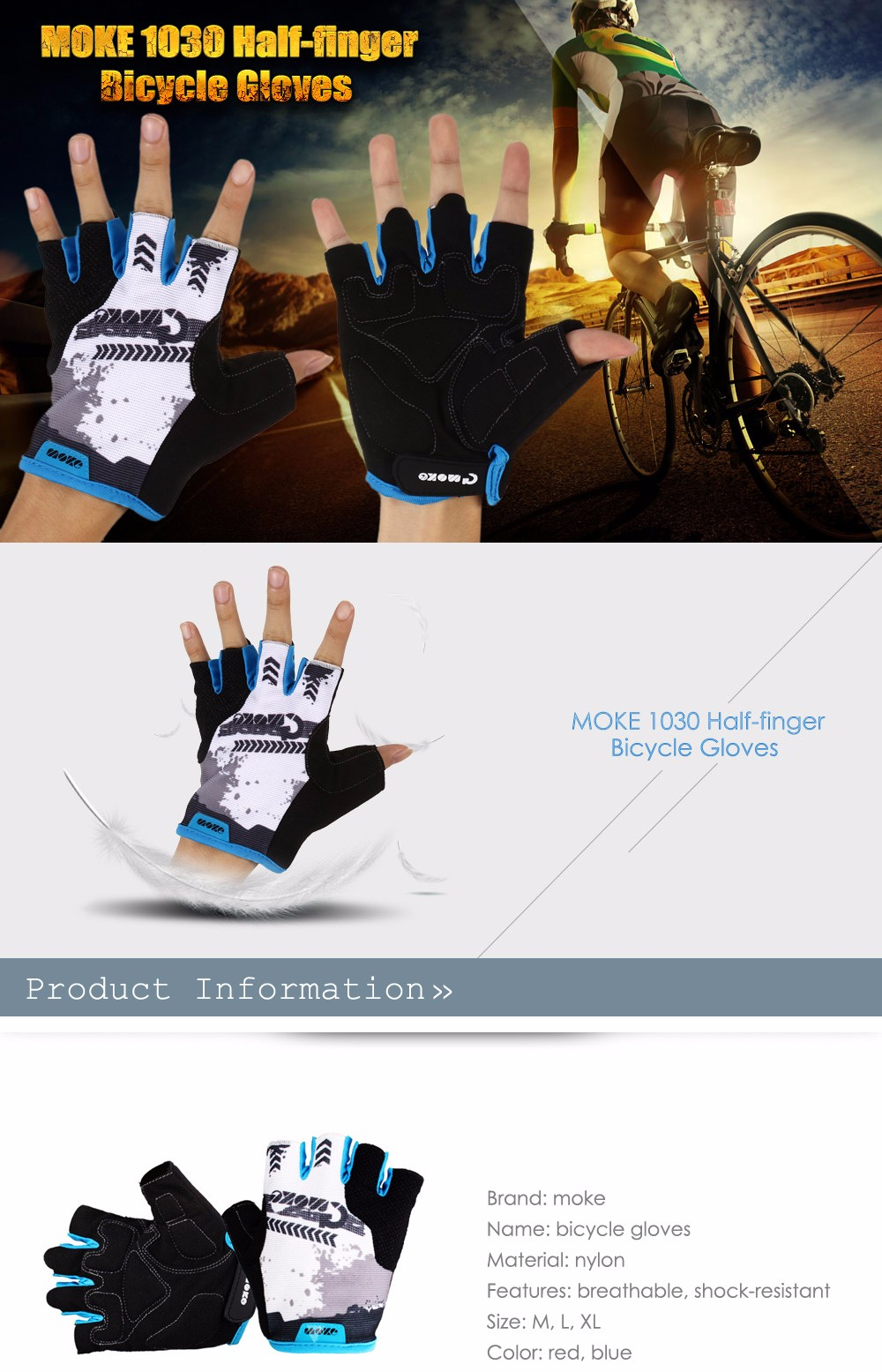 MOKE 1030 Breathable Anti-shock Half-finger Bicycle Gloves