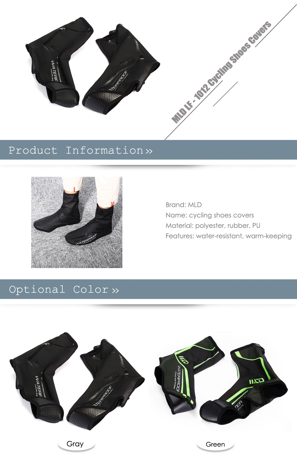 MLD LF - 1012 Water Resistant Warm-keeping Cycling Shoes Covers with Reflective Design