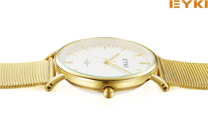 EYKI Casual Ultra-thin Dial Steel Strap Couple Watches with Japan Movement