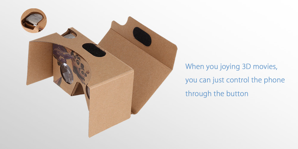DIY Virtual Reality Cardboard 3D Glasses with One Touch Button for 4.7 - 6 inch Screen Phone