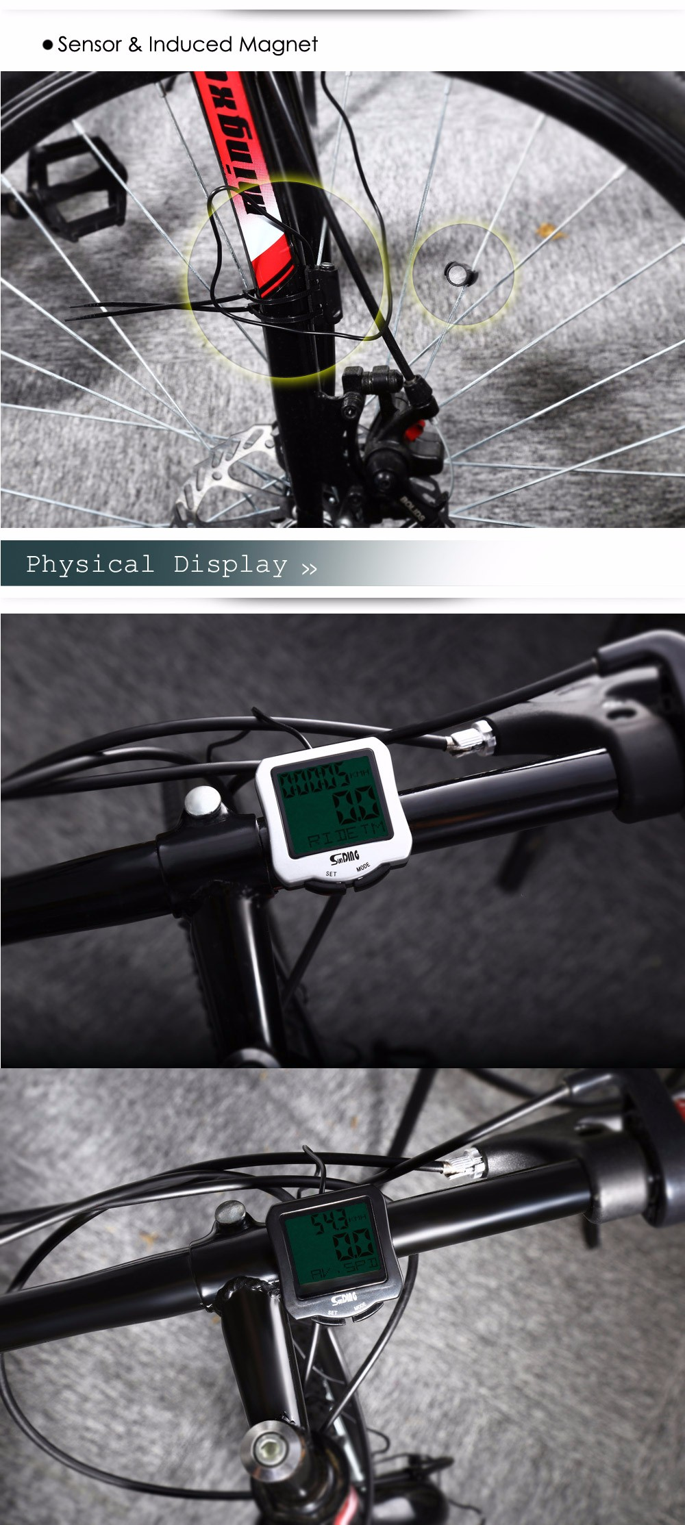 SunDing SD - 570 Bicycle Computer Water Resistant Cycling Odometer Speedometer with Green Backlight
