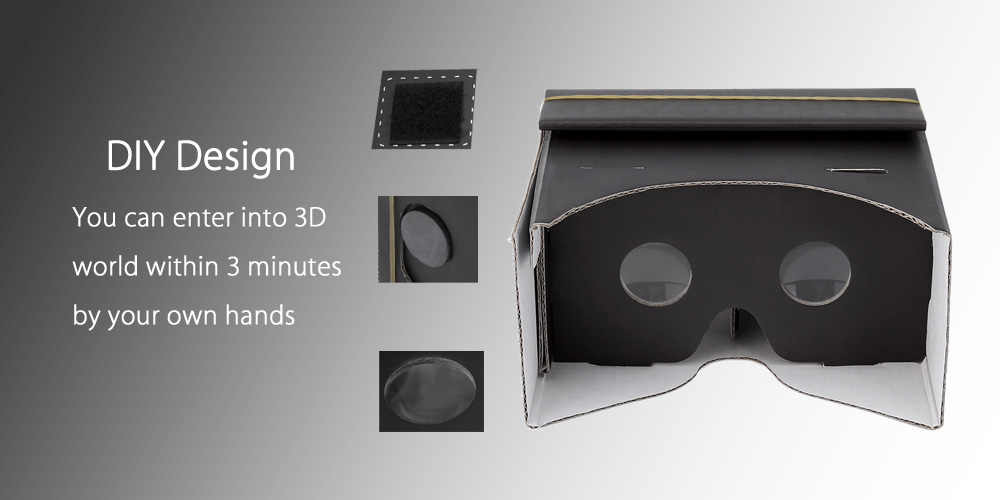 DIY Virtual Reality Cardboard 3D Glasses with Magnet for 4.7 - 6 inch Screen Phone