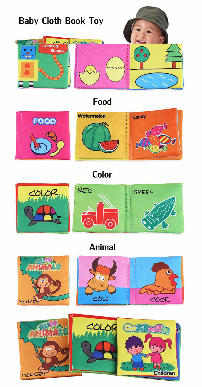 Baby Fabric Books Picture Recognition Intelligence Toy - 6pcs / set