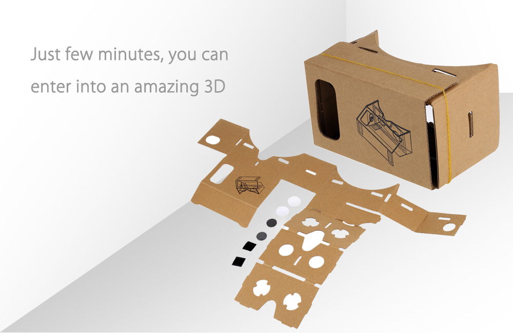 DIY Virtual Reality Cardboard 3D Glasses  for 4.7 - 5 inch Screen Phone with Magnet Button
