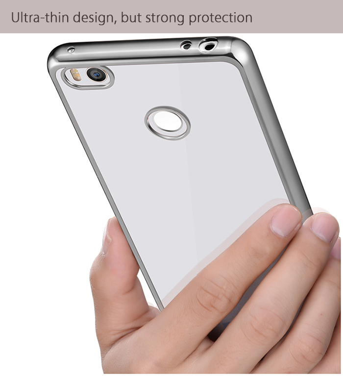 Luanke TPU Soft Protective Case for Xiaomi 4S Ultrathin Transparent Style Shell with Electroplated Edge