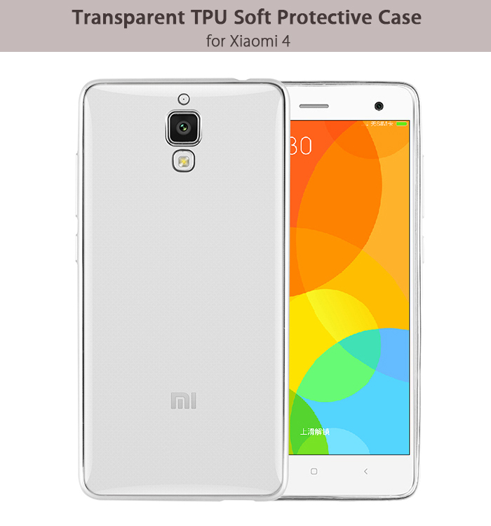 Luanke TPU Soft Protective Case for Xiaomi 4 Ultrathin Transparent Style Shell with Electroplated Edge