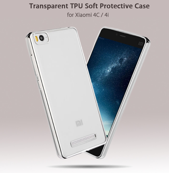 Luanke TPU Soft Protective Case for Xiaomi 4C / 4i Ultrathin Transparent Style Shell with Electroplated Edge