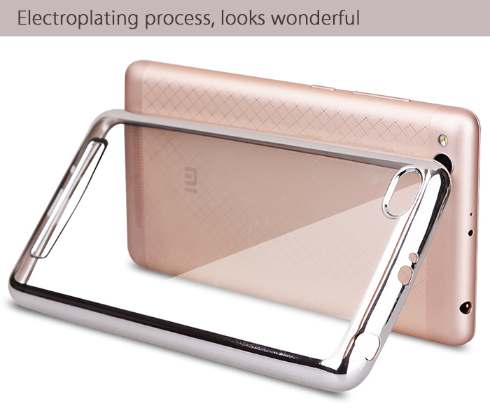 Luanke TPU Soft Protective Case for Xiaomi Redmi 3 Ultrathin Transparent Style Shell with Electroplated Edge