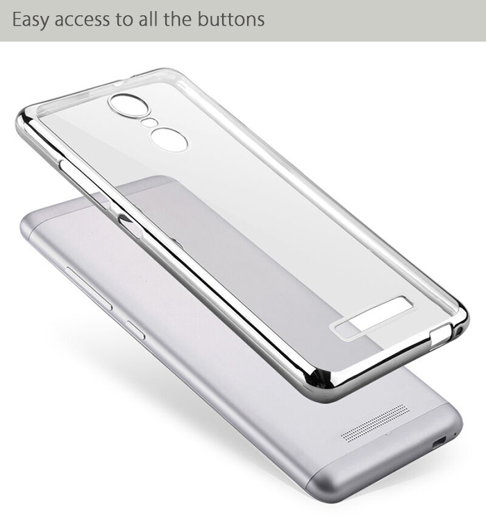 Luanke TPU Soft Protective Case for Xiaomi Redmi Note 3 Ultrathin Transparent Style Shell with Electroplated Edge