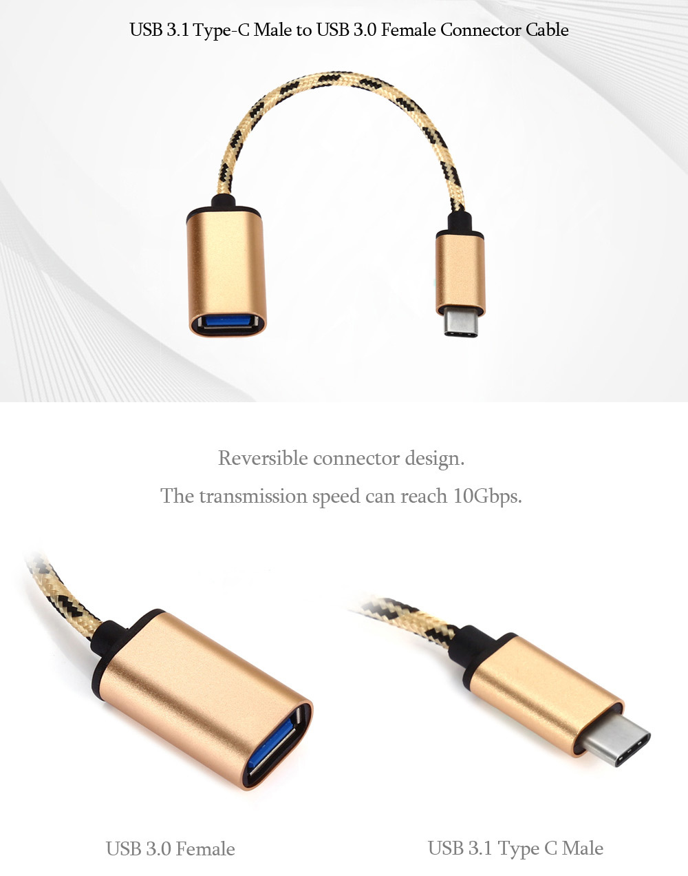USB 3.1 Type-C Male to USB 3.0 Female Data Cable