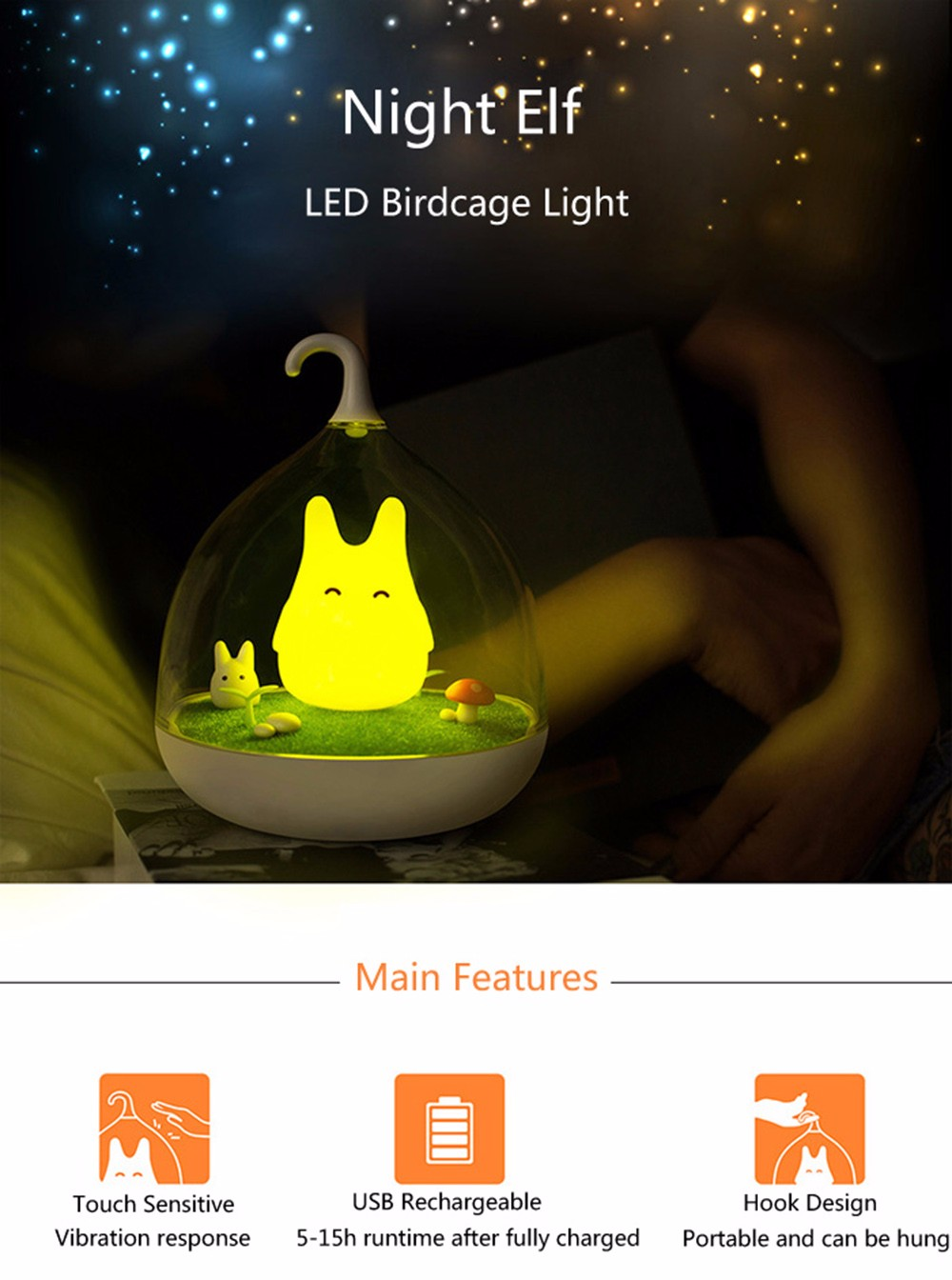 USB Rechargeable Touch Sensor LED Birdcage Night Light with Rabbit