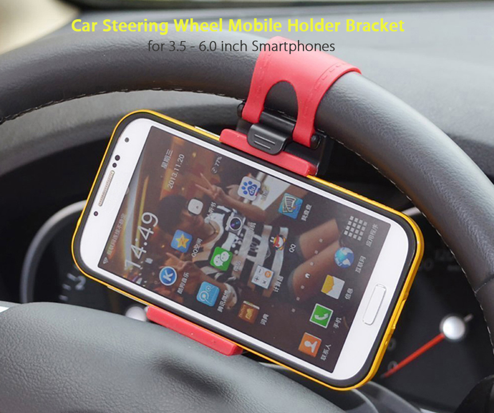 Hat - Prince Car Steering Wheel Phone Stand Clip-on Style Mobile Holder for 3.5 - 6.0 inch Smartphones
