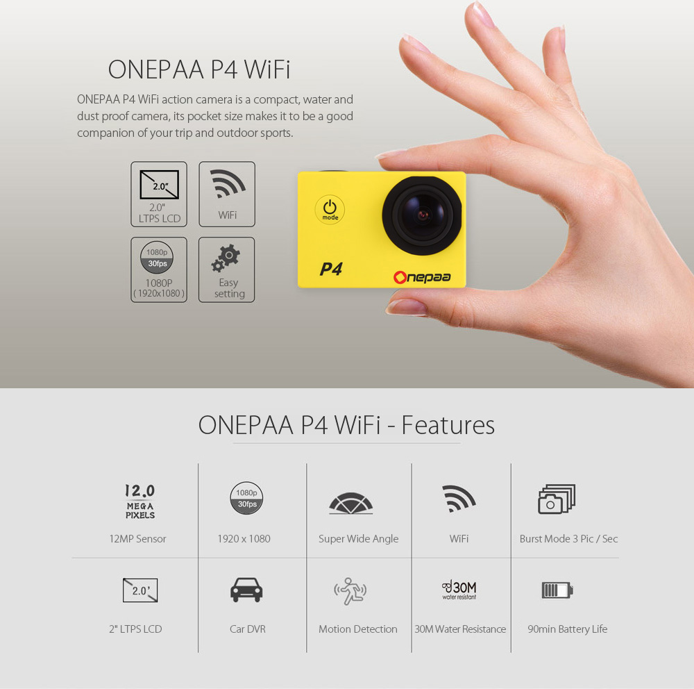 Onepaa P4 WiFi 1080P Action Camera 2.0 inch LCD Screen 170 Degree FOV TF Card Slot