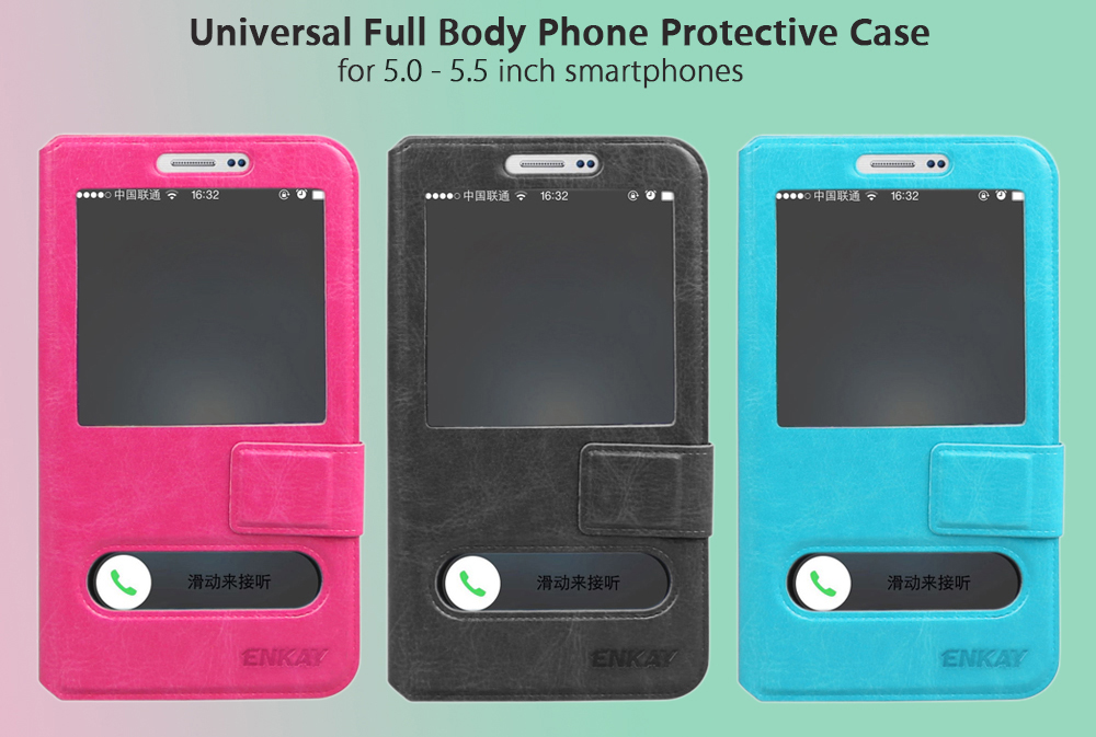ENKAY Universal Protective Phone Case for 5.0 - 5.5 inch Smartphones PU Leather Full Cover Shell with View Window Phone Holder