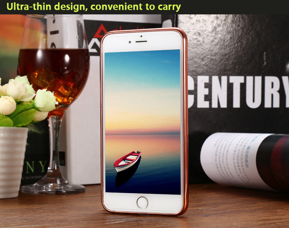 Diamond Style Protective Phone Back Cover Case for iPhone 6 Plus / 6S Plus TPU Plated Margin Mobile Shell