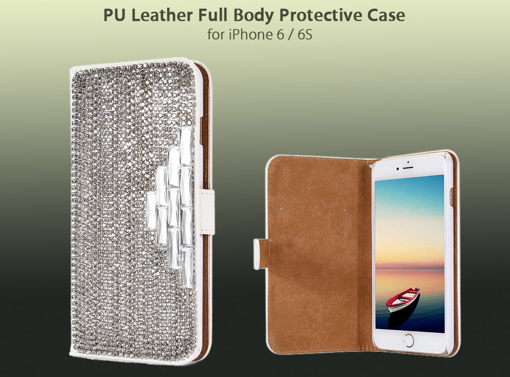 Diamond Decoration PU Leather Protective Full Body Flip-open Case for iPhone 6 / 6S with Phone Stand Card Slots