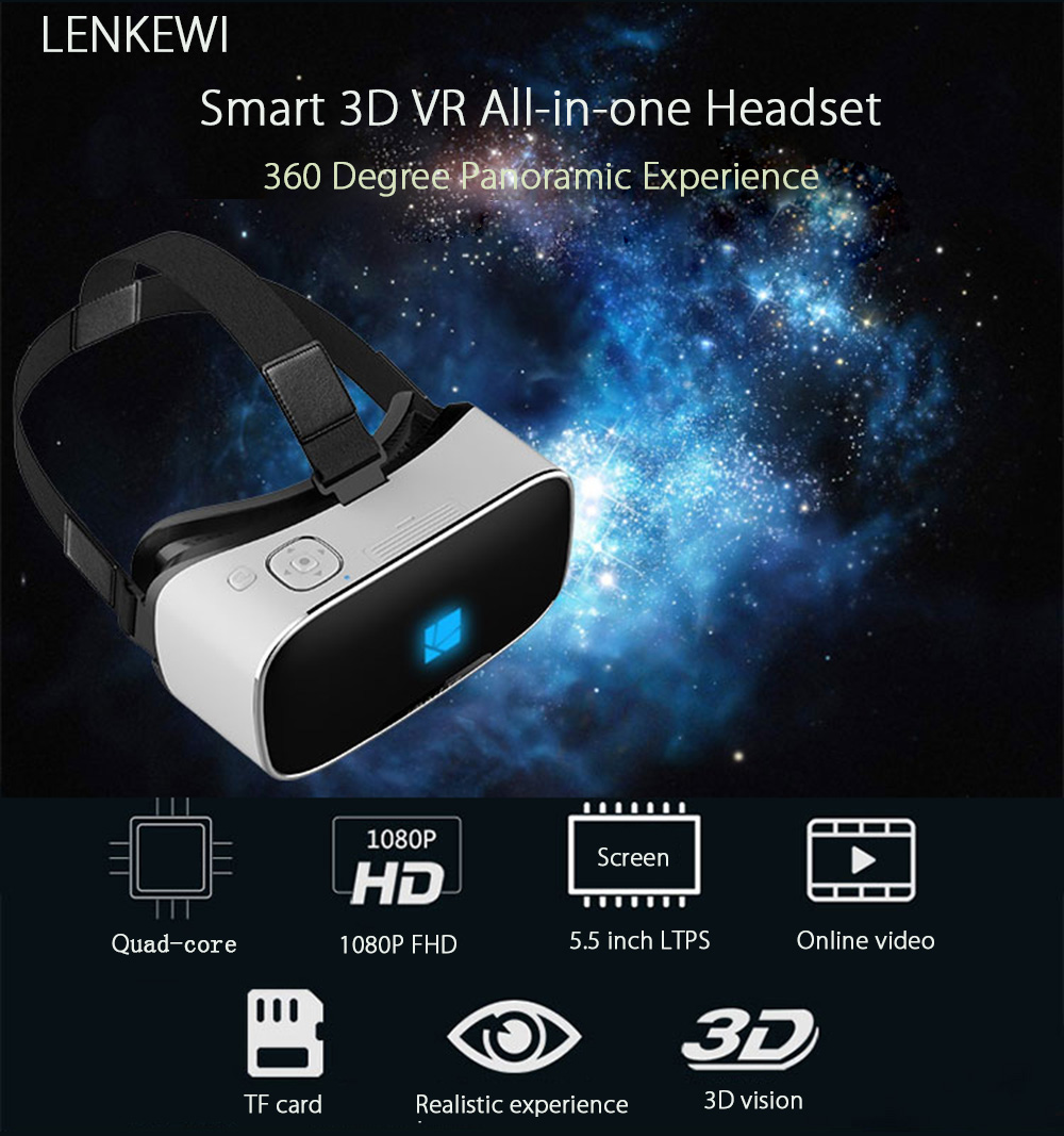 LENKEWI V1 All-in-one WiFi 3D VR Headset 1080P Video Player 110 Degree FOV 360 Degree Full Width Virtual Reality Glasses with TF Card Slot