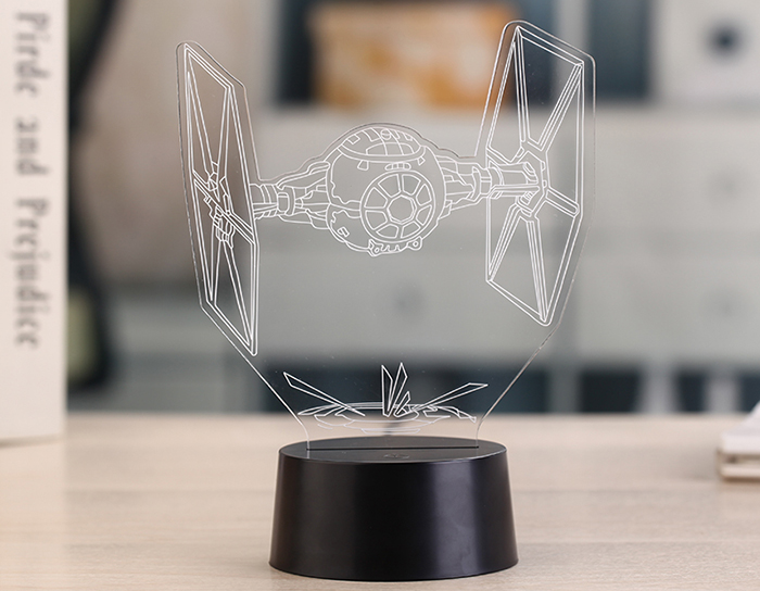 3D Optical Illusion 7 Color Change Toy Fighter Style LED Desk Lamp Table Light