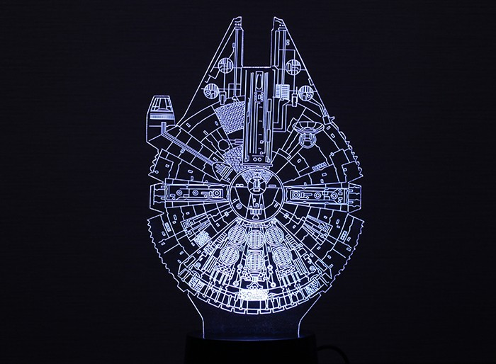 Fighter Style 3D Optical Illusion 7 Color Change Toy LED Desk Lamp Table Light