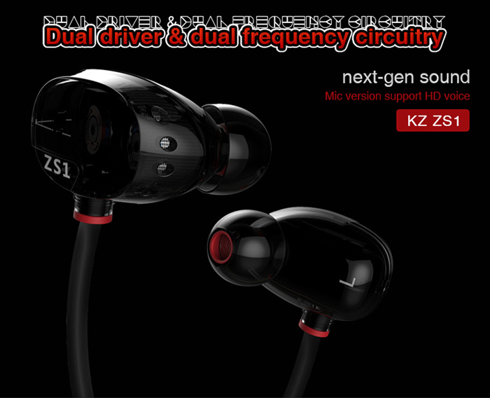 KZ ZS1 HIFI Stereo Earphones Earhook with Mic Support Hands-free Calls 3.5mm Plug 1.2m Cable with Earbud Tips