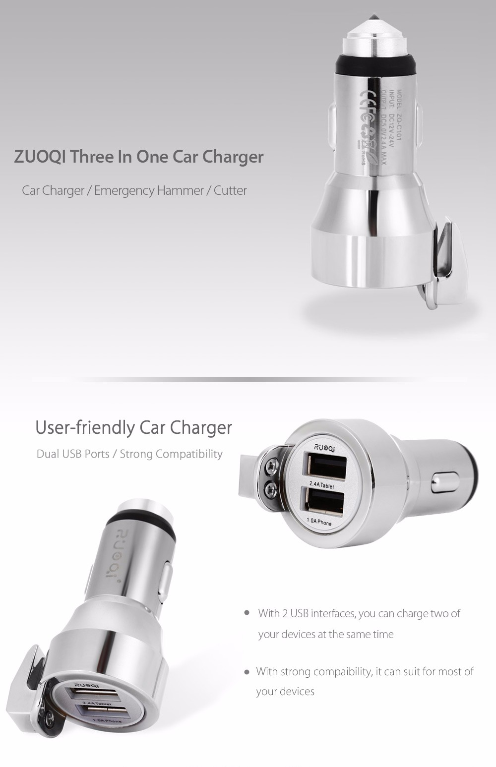 ZUOQI ZQ - C101 Car Charger Dual USB Ports Safety Hammer Tungsten Steel Head Cutter