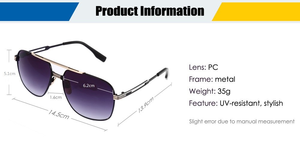 9092 Anti-UV Sunglasses with Metal Frame / PC Lens