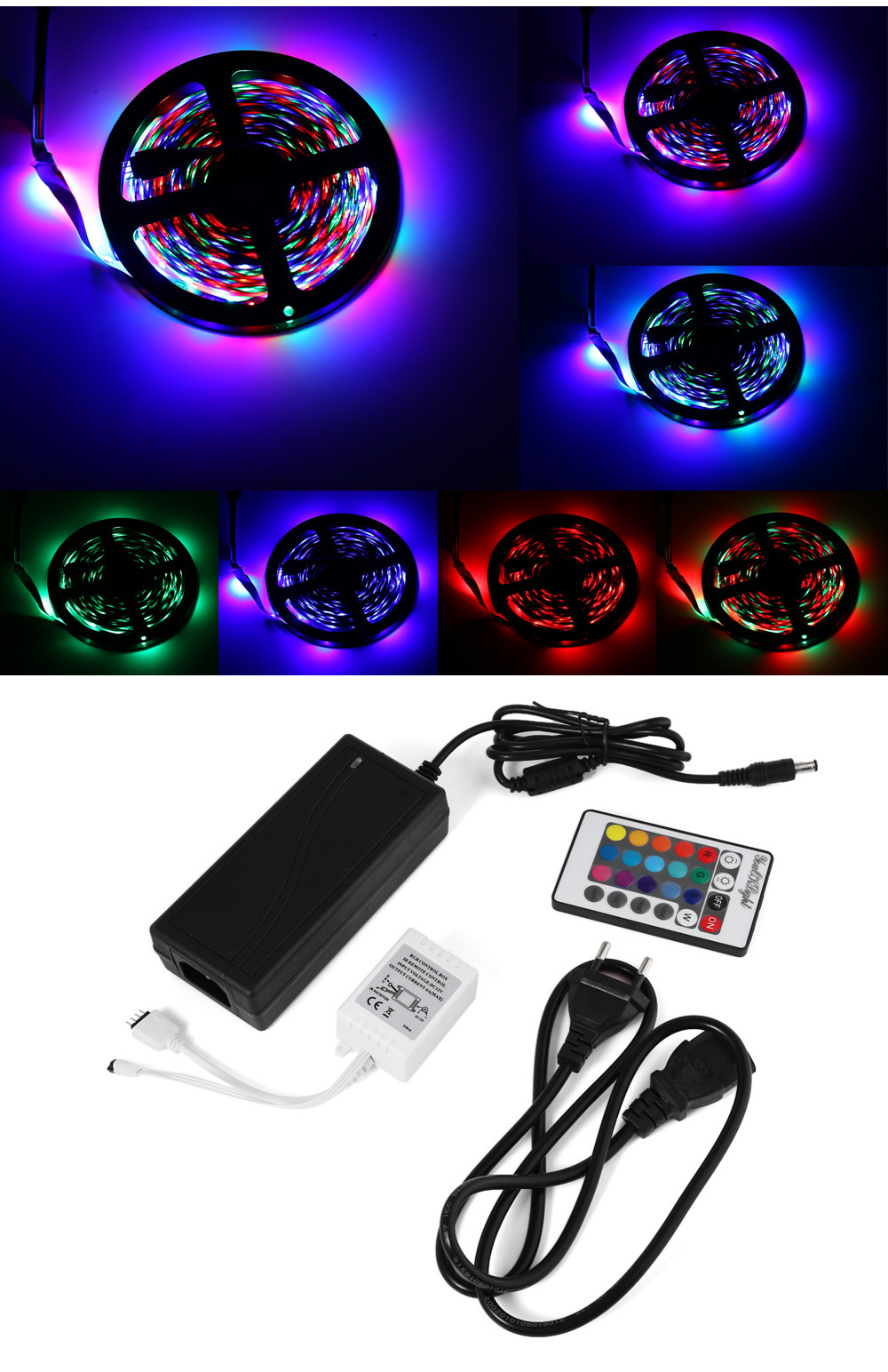 YouOKLight 10M 50W 600 x SMD3528 RGB LED Rope Light + Controller + Adapter