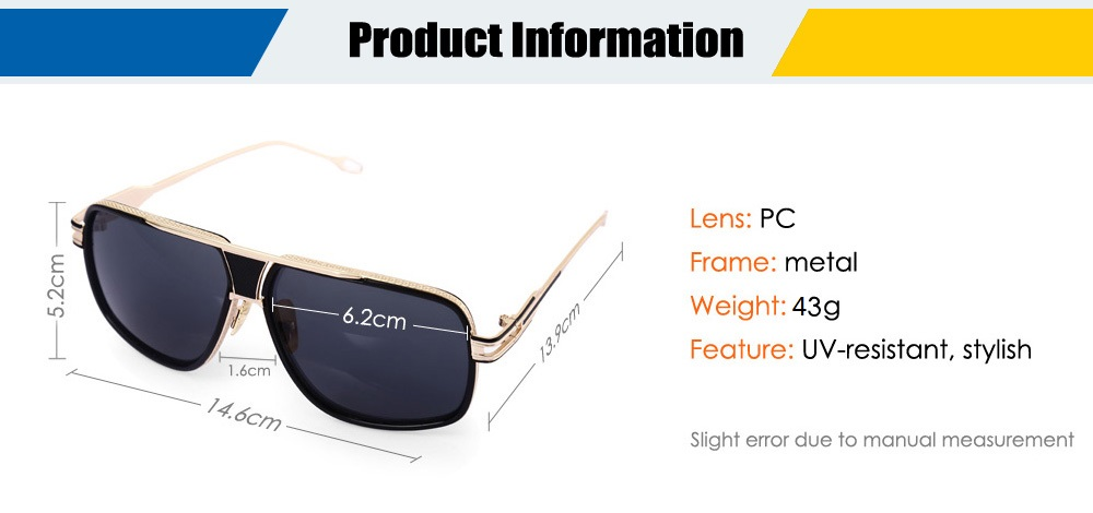 1722 Anti-UV Sunglasses with Metal Frame / PC Lens