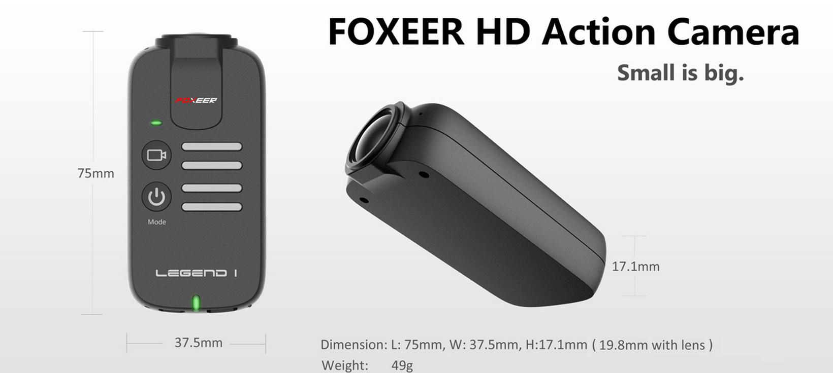 FOXEER Legend 1 1080P 16MP 60fps 166 Degree Wide Angle FPV Camera