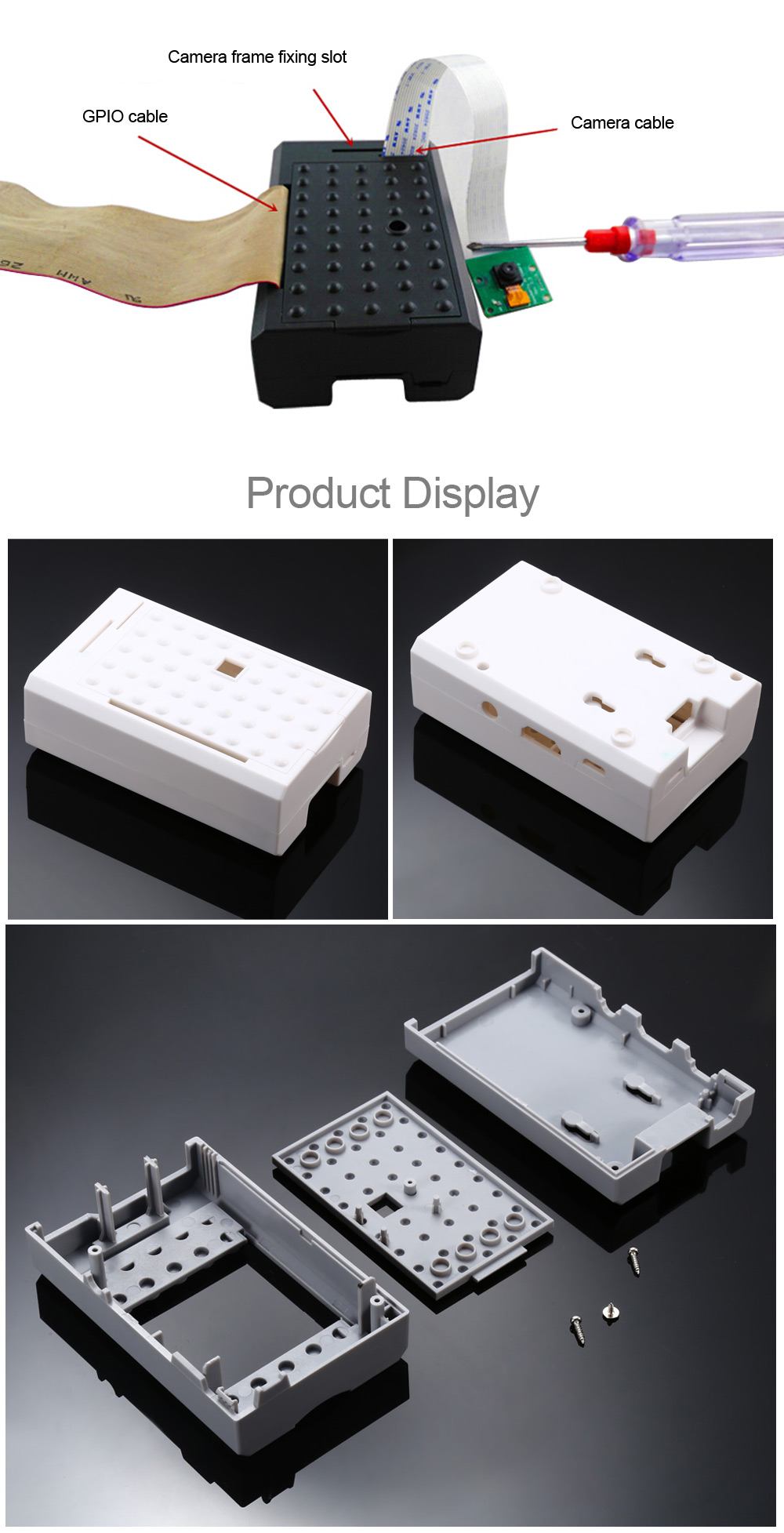 Acrylic Case with Camera Mount Hole for Raspberry Pi 3B / 2B